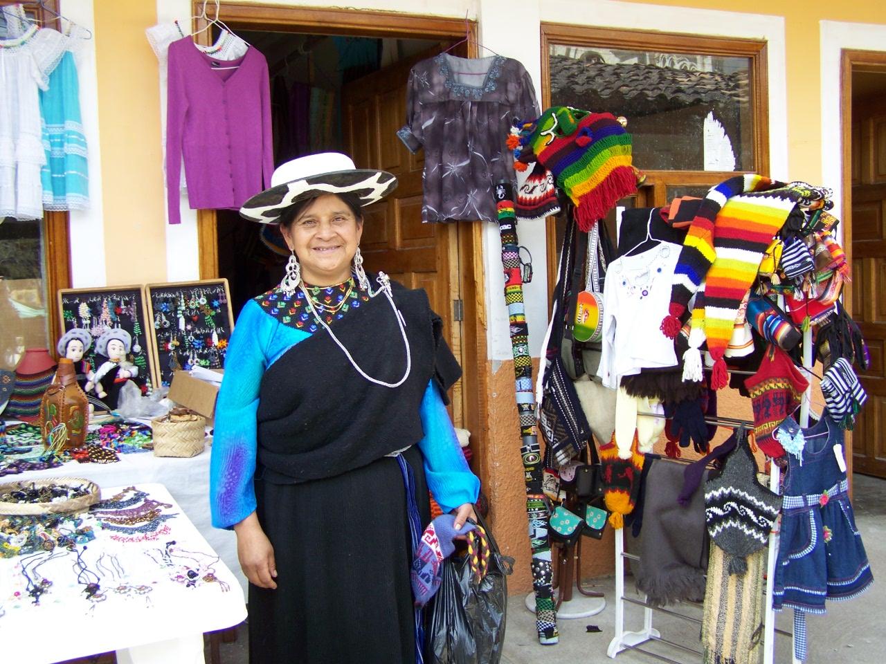 saraguro woman with handmade goods