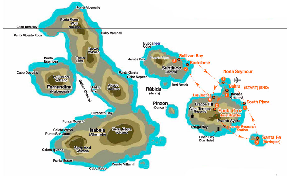 4 nights yacht-isabela-central-islands-map