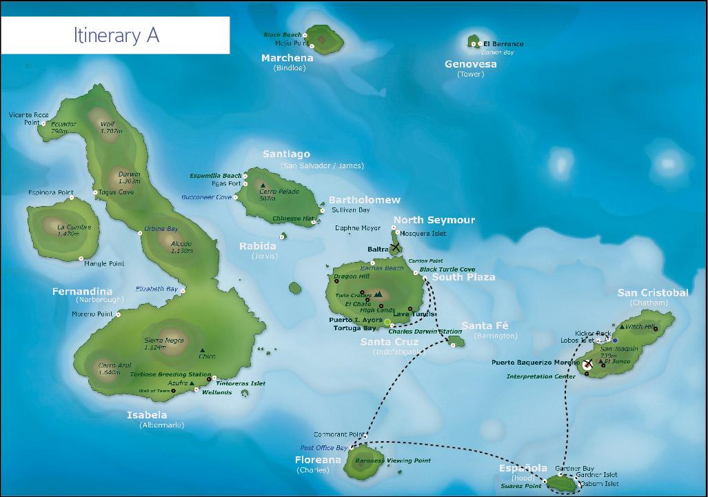 Galapagos itinerary A