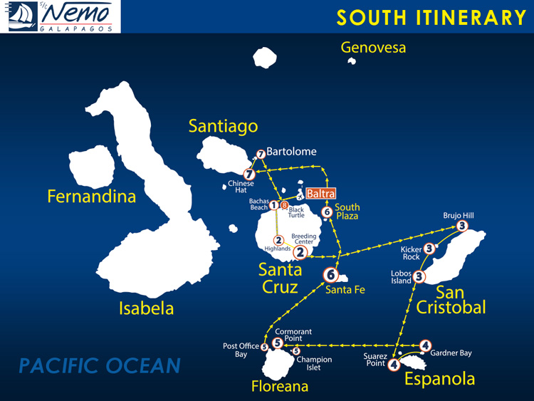 Nemo II South itinerary Galapagos
