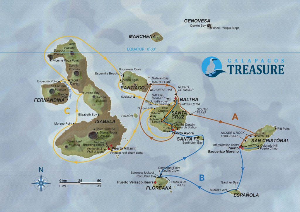 Treasure of Galapagos Itinerary map