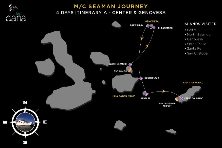 MC Seaman Journey 4 Days Itinerary A - Center & Genovesa