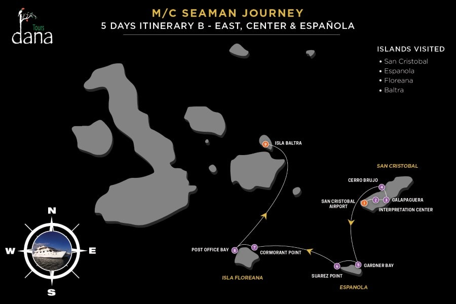 MC Seaman Journey 5 Days Itinerary B - East, Center & Española