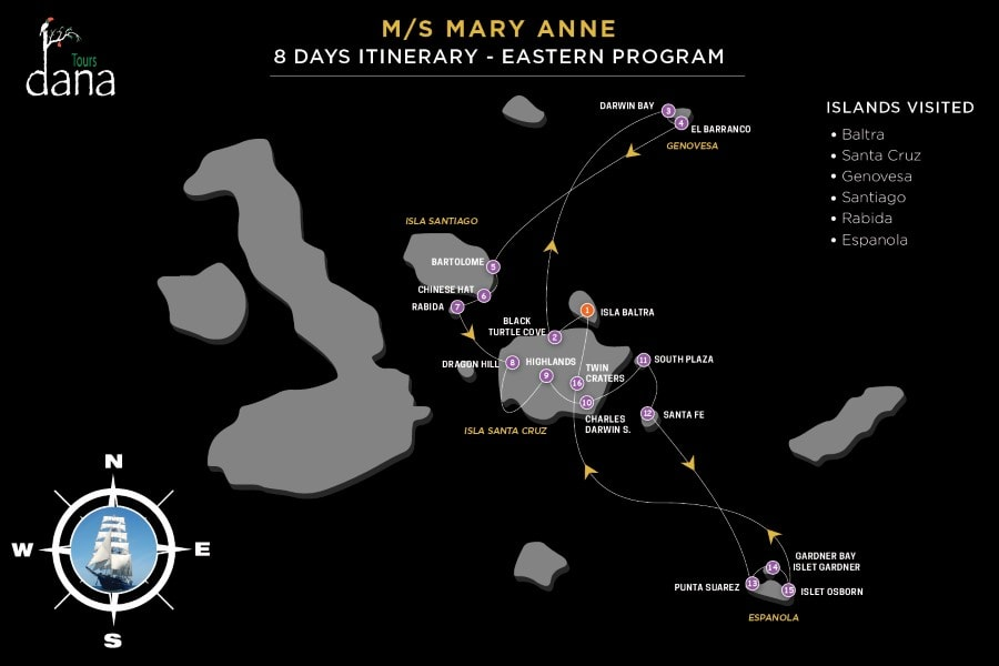 MS Mary Anne 8 Days Itinerary - Eastern Islands