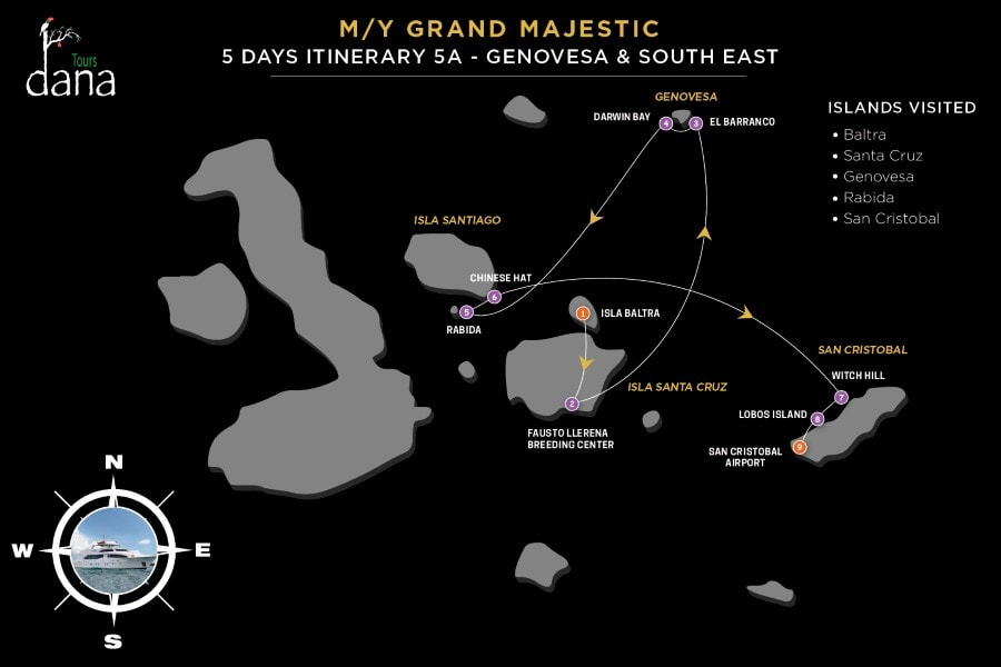 MY Grand Majestic 5 Days Itinerary 5A - Genovesa & South East