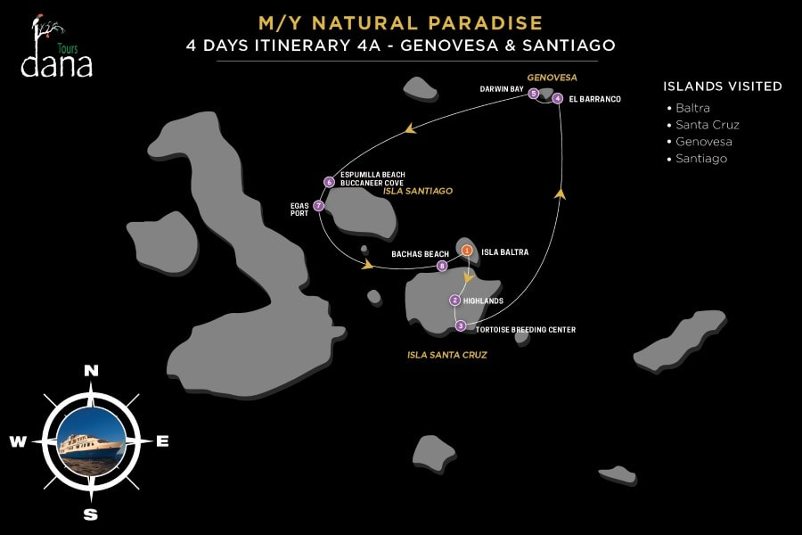 MY Natural Paradise 4 Days Itinerary 4A - Genovesa & Santiago