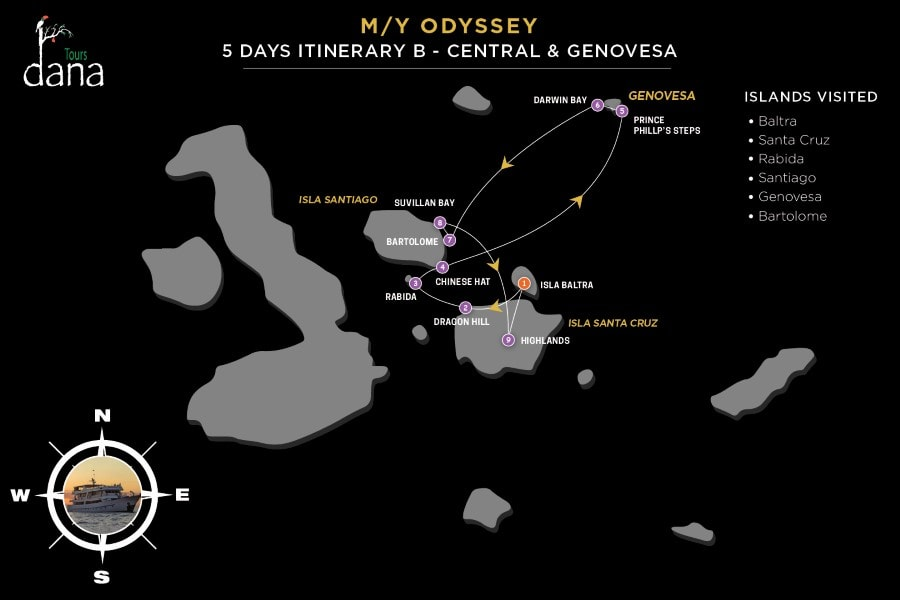 MY Odyssey 5 Days Itinerary - B - Central & Genovesa