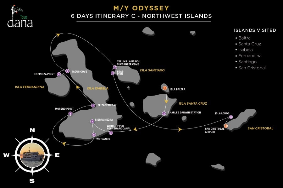 MY Odyssey 6 Days Itinerary - C - Northwest Islands