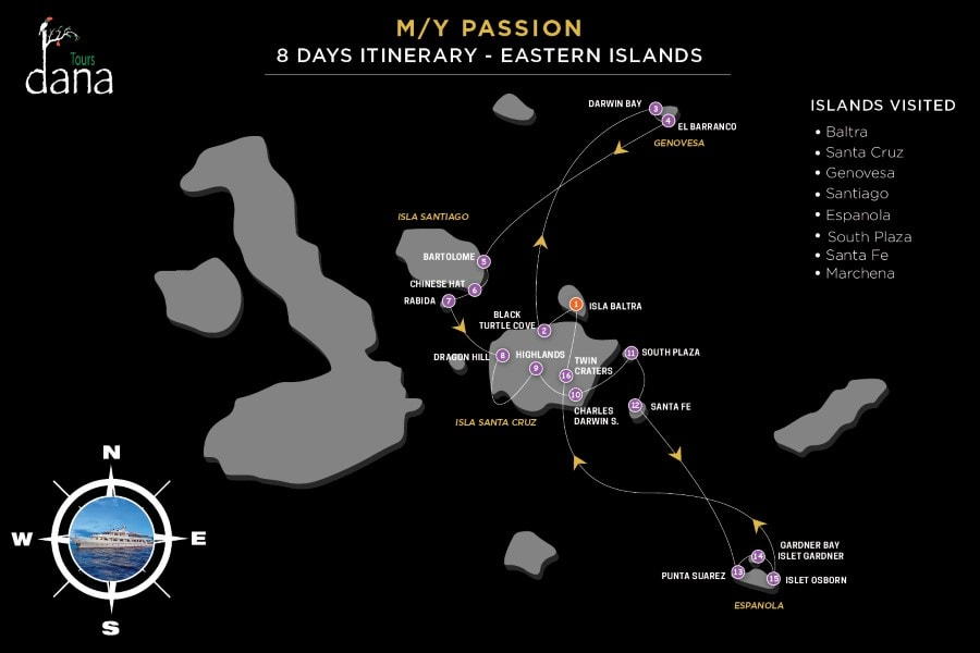 MY Passion 8 Days Itinerary - Eastern Islands
