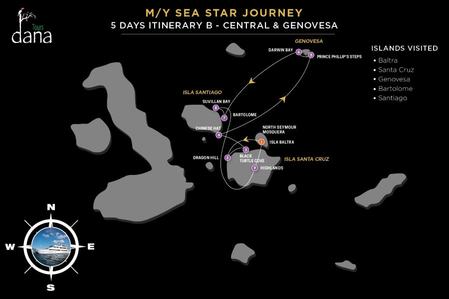MY Sea Star Journey 5 Days Itinerary B - Central & Genovesa