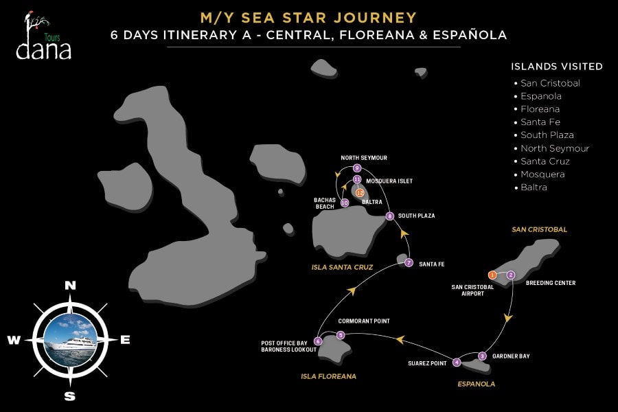 MY Sea Star Journey 6 Days Itinerary A - Central, Floreana & Española