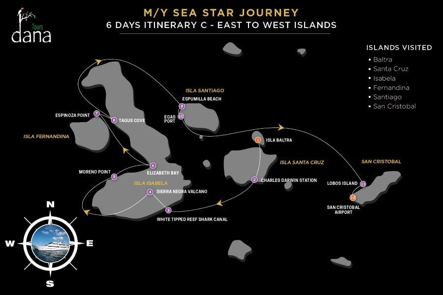 MY Sea Star Journey 6 Days Itinerary C - East to West Islands