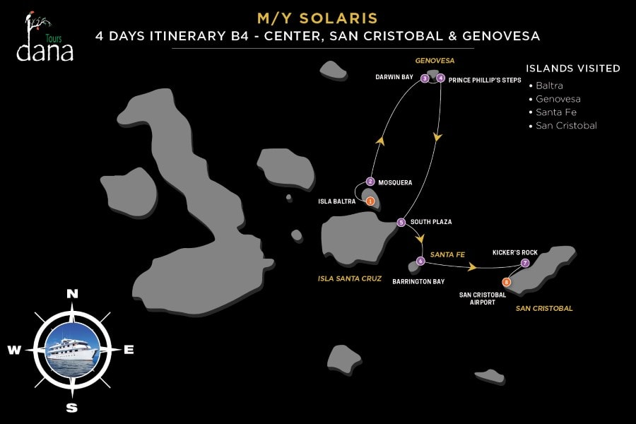 MY Solaris 4 Days Itinerary B4 - Center, San Cristobal & Genovesa